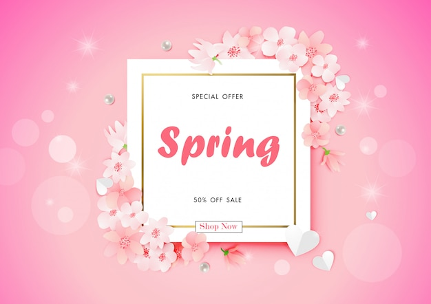 Spring sale background with cherry blossom flower vector