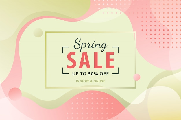 Spring sale background with pink and green fluid shapes.