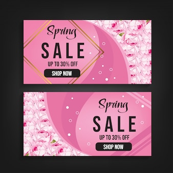Spring sale banner background vector with pink flower