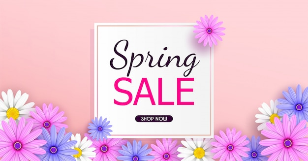 Spring sale banner background with beautiful colorful flowers are blooming.
