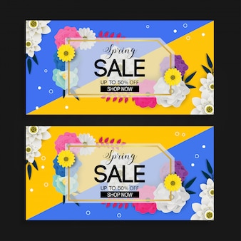 Spring sale banner background with flower pattern
