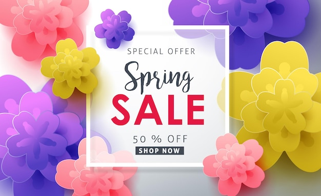 Spring sale banner background with flower.