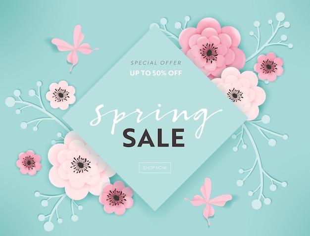 Весенняя распродажа баннер фон с бумагой срезанные цветы и цветочные элементы. шаблон весенней скидки, брошюра, плакат, рекламное продвижение. векторная иллюстрация