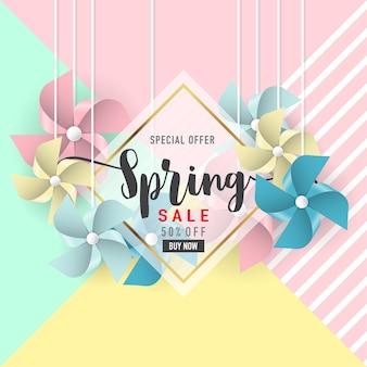 Spring sale banner background
