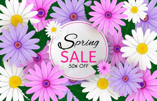 Spring sale banner background