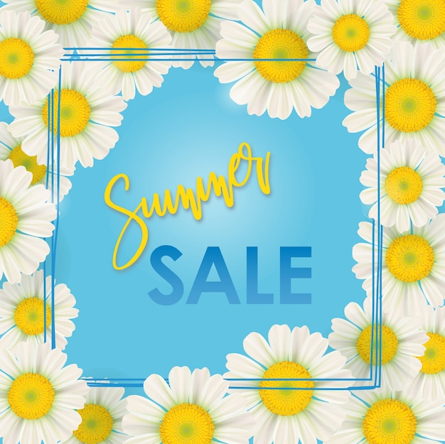 Spring sale banner , chamomile flowers