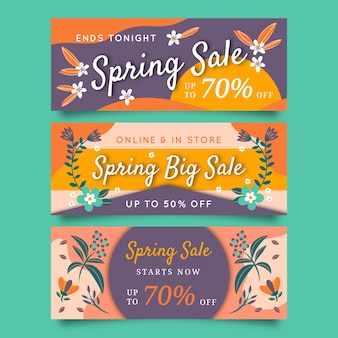 Spring sale banner collection design