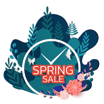 Spring sale banner design leaves flower and butterfly.