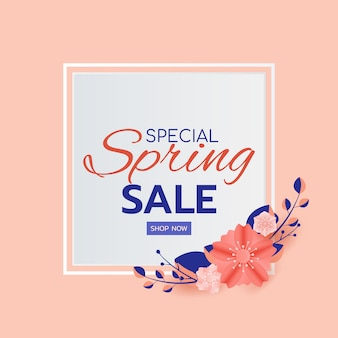 Spring sale banner design leaves and flower
