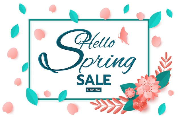 Spring sale banner design leaves and flower.