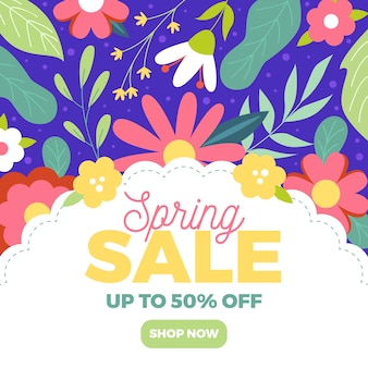 Spring sale banner in flat design