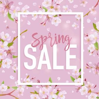 Весенняя распродажа баннер. цветочный тег продажи