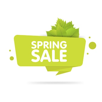 Spring sale banner. origami style paper design. vector