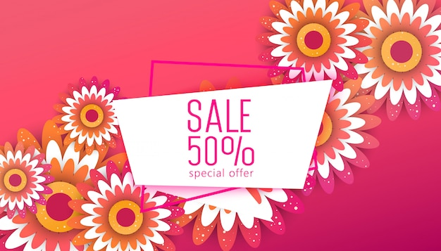 Spring  sale banner. special discount