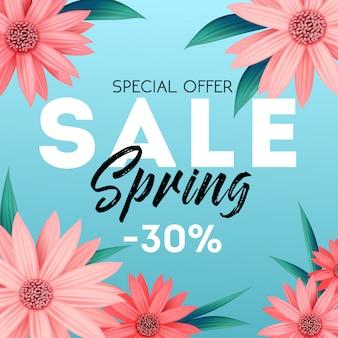 春のセールバナー、特別オファー、ピンクの花の広告