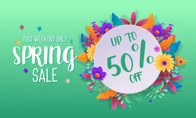 Spring sale banner template promotion