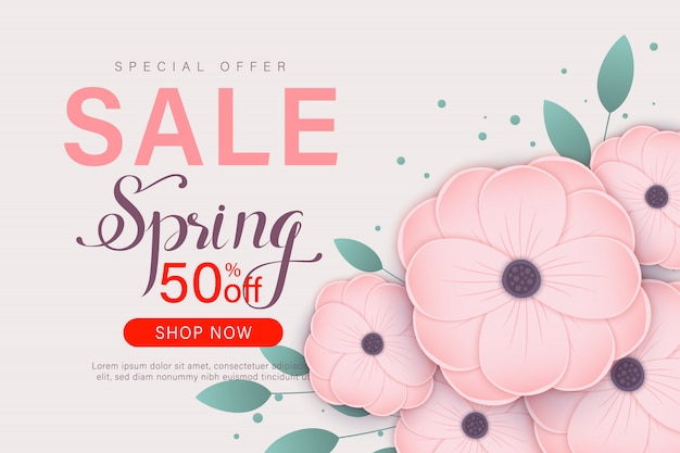 Spring sale banner template with paper flower