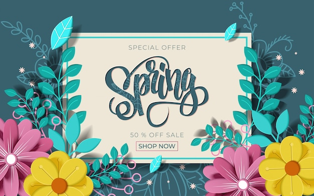 Spring sale banner with beautiful colorful flower.