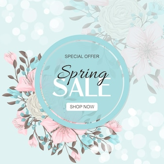 Spring sale banner with beautiful colorful flowers.