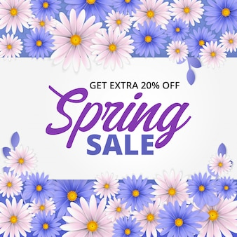 Spring sale banner with beautiful flower.