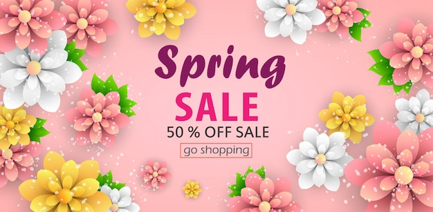 Spring sale  banner with beautiful flowers