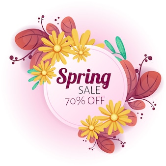 Spring sale banner with beautiful flowers.