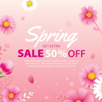 Spring sale banner with blooming flowers background template