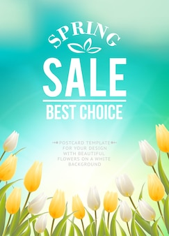 Spring sale banner with blooming tulip