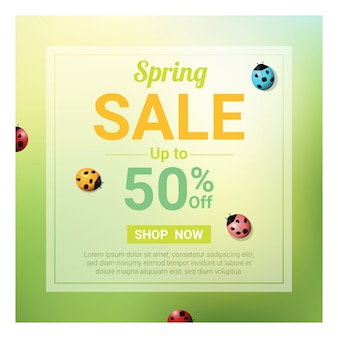 Spring sale banner with colorful ladybugs