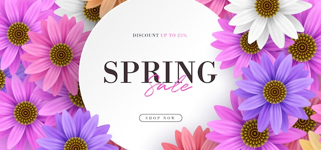 Spring sale banner with colorful realistic 3d flowers