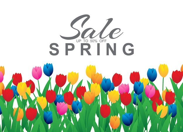 Spring sale banner with colorful tulip flowers