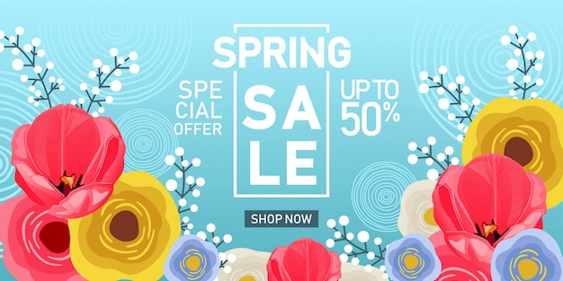 Spring sale banner with flower background