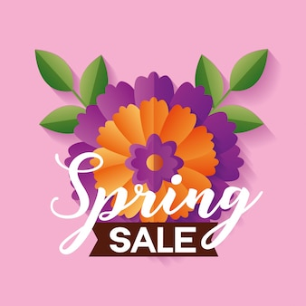 Spring sale banner with flower