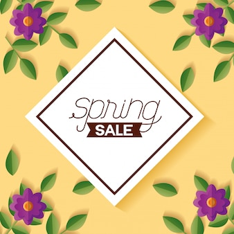 Spring sale banner with flowers and frame