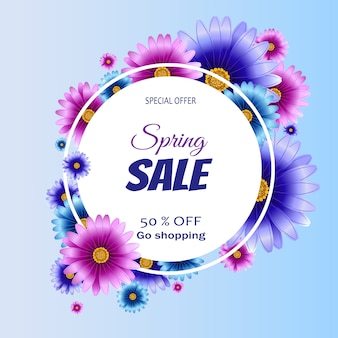 Spring sale banner with flowers.