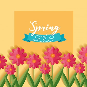 Spring sale banner with flowers