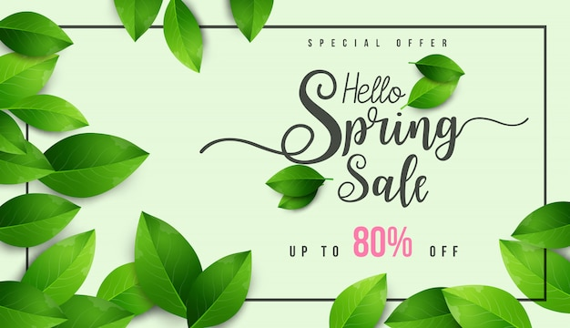 Spring sale banner with green leaf