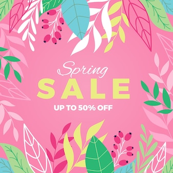 Spring sale banner with leaves