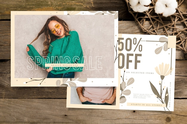 Spring sale banner with model