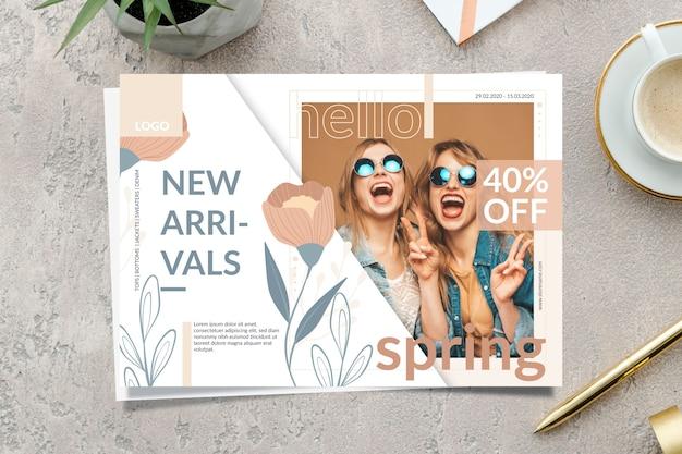 Banner di vendita di primavera con nuovi arrivi