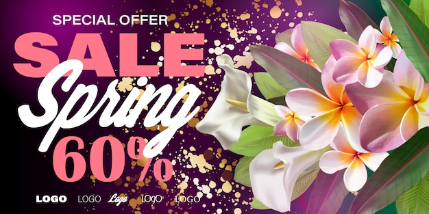 Spring sale banner with paper flowers for online shopping, advertising actions, magazines and websites.