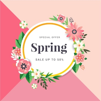 Spring sale banner with paper flowers