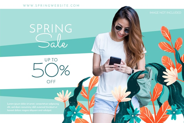Spring sale banner with photo hand drawn flowers