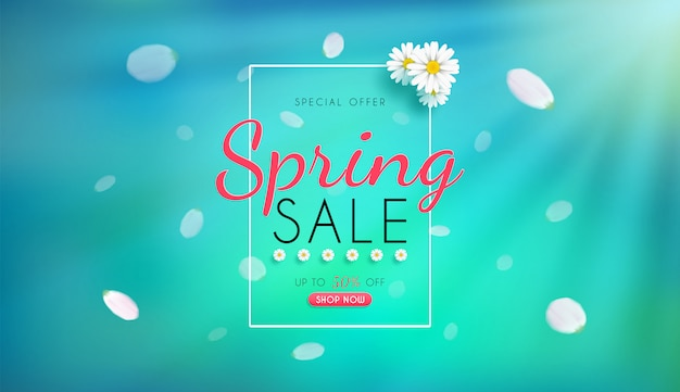 Spring sale banner with tulips white flowers
