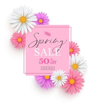 白、ピンク、ライラックのデイジーと春販売バナー