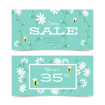 Spring sale banners in flat design