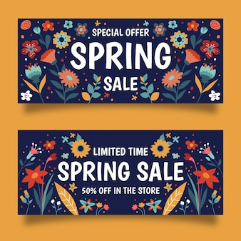 Spring sale banners in hand drawn