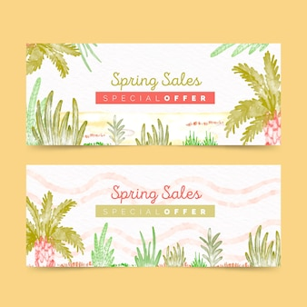 Spring sale banners in watercolor
