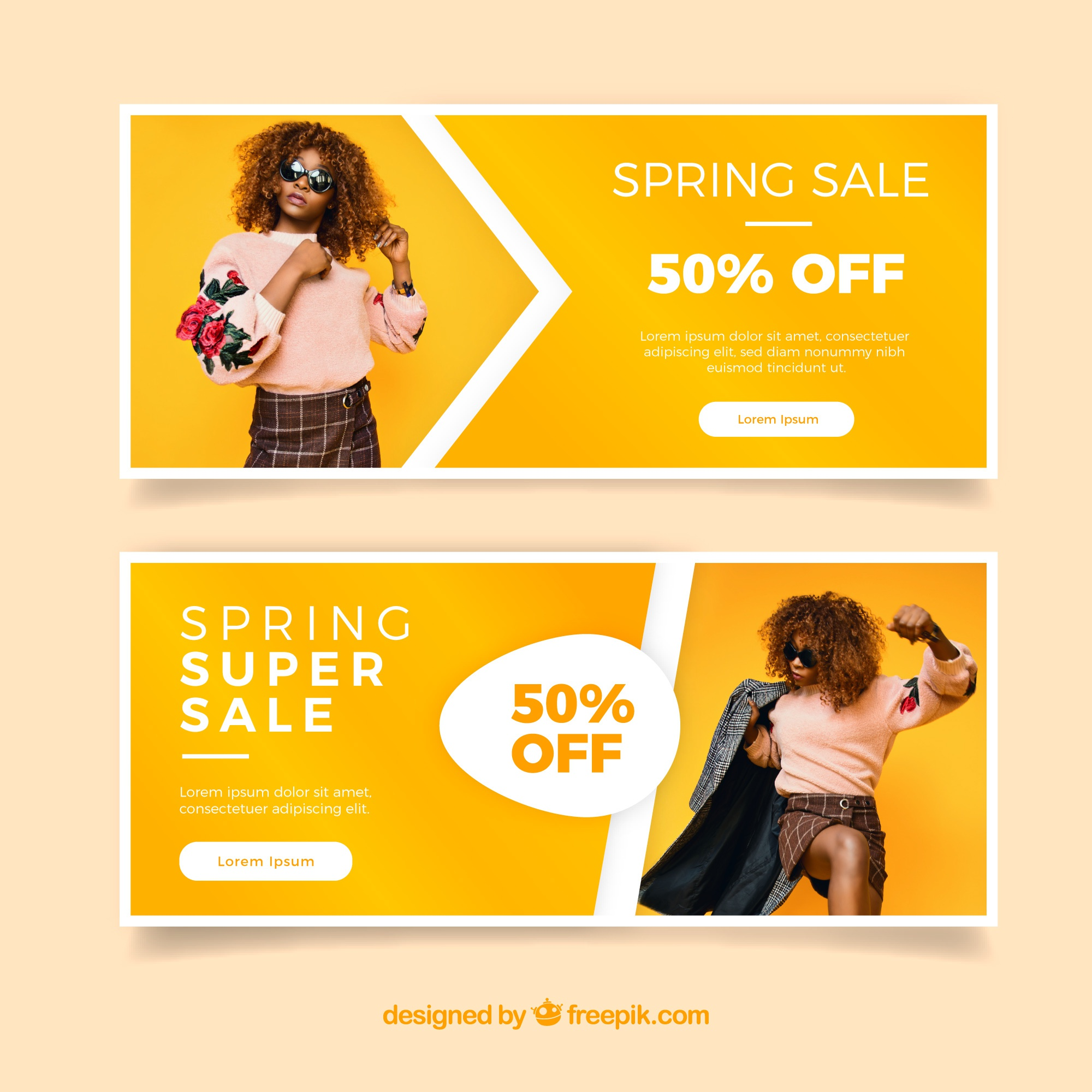 Spring sale banners with a girl's photo