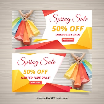 Spring sale banners with abstract shapes
